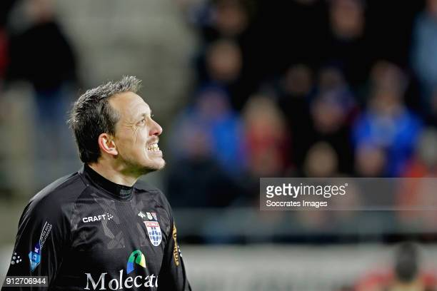 Diederik Boer of PEC Zwolle disappointed after red card during the Dutch KNVB Beker match between AZ Alkmaar v PEC Zwolle at the AFAS Stadium on...
