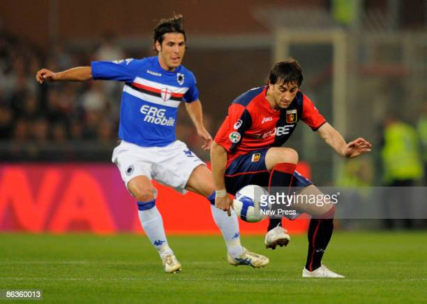 Diedo Milito of Genoa and Pietro Accardi of Sampdoria in action during the Serie A match between Genoa and Sampdoria at the Stadio Luigi Ferraris on...