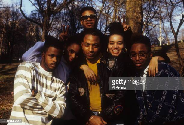 """Diedra """"DJ Spinderella"""" Roper and Cheryl """"Salt"""" James of the Rap group Salt 'N Pepa appears with the group 4 Play in a portrait taken in Central Park..."""