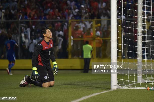 Diedrich Tellez of Nicaragua reacts during the match against Haiti the first of two match to define the last qualified to the 2017 Gold Cup at the...