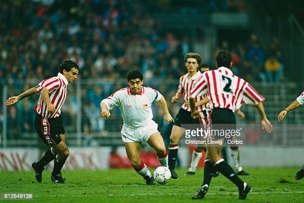 Diega Maradona playing for FC Sevilla during the season 1992-1993 during a match of the Liga against Atletico Bilbao.