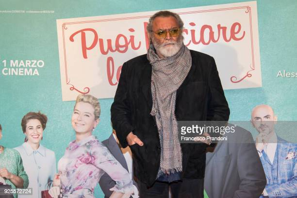 Diego Abatantuono attends a photocall for 'Puoi Baciare Lo Sposo' on February 28 2018 in Milan Italy