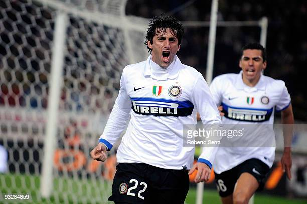 Diego Alberto Milito of Inter Milan celebrates during the Serie A match between Bologna and Inter Milan at Stadio Renato Dall'Ara on November 21 2009...