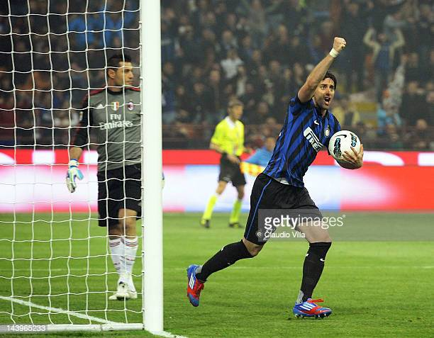 Diego Alberto Milito of Inter Milan celebrates scoring the second goal during the Serie A match between FC Internazionale Milano and AC Milan at...
