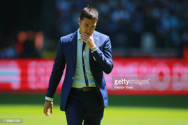 Diego Alonso coach of Monterrey gestures during the 13th round match between Toluca and Monterrey as part of the Torneo Clausura 2019 Liga MX at...