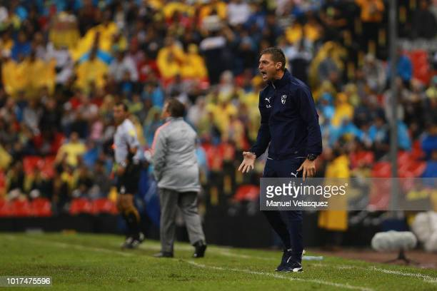 Diego Alonso coach of Monterrey gives instructions during the fourth round match between Club America and Monterrey as part of the Torneo Apertura...