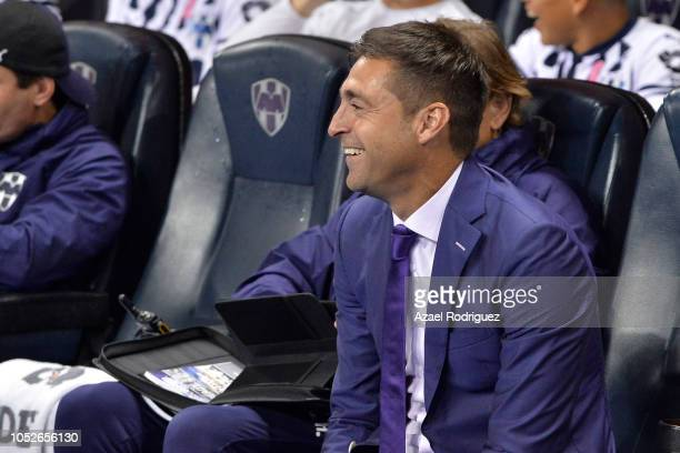 Diego Alonso coach of Monterrey is seen on the bench prior the 13th round match between Monterrey and Toluca as part of the Torneo Apertura 2018 Liga...