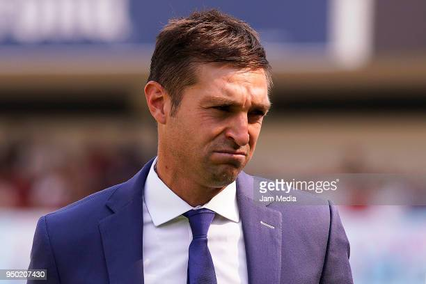 Diego Alonso Coach of Pachuca gestures during the 16th round match between Queretaro and Pachuca as part of the Torneo Clausura 2018 Liga MX at La...