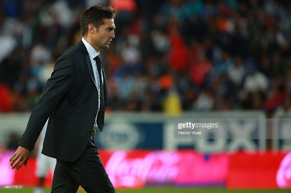 Diego Alonso coach of Pachuca leaves the field after a 7th round match between Pachuca and Atlas as part of the Apertura 2015 Liga MX at Hidalgo Stadium on August 29, 2015 in Pachuca, Mexico.