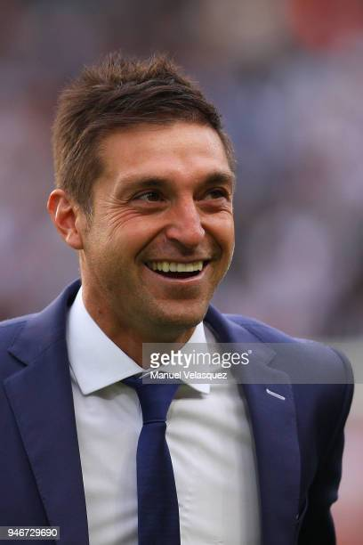 Diego Alonso coach of Pachuca smiles prior the 15th round match between Pachuca and Santos Laguna as part of the Torneo Clausura 2018 Liga MX at...