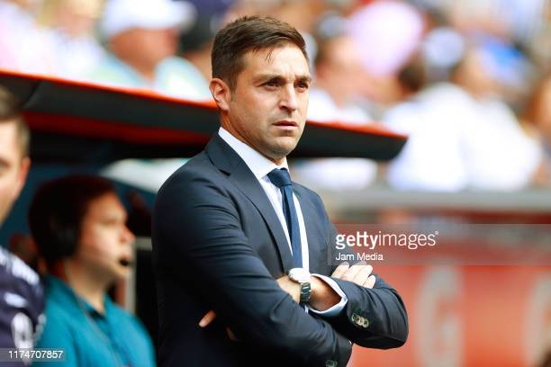 Diego Alonso Head Coach of Monterrey observes the game during the 9th round match between Monterrey and Necaxa as part of the Torneo Apertura 2019...