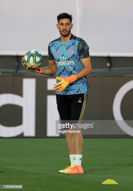 Diego Altube of Real Madrid in action prior to the Liga match between Real Madrid CF and Getafe CF at Estadio Alfredo Di Stefano on July 02 2020 in...