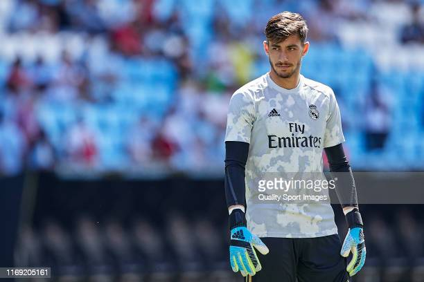 Diego Altube of Real Madrid looks on prior to the Liga match between RC Celta de Vigo and Real Madrid CF at AbancaBalaídos on August 17 2019 in Vigo...