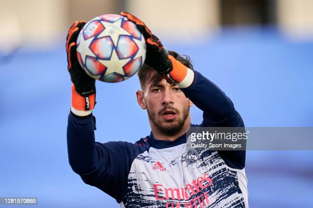 Diego Altube of Real Madrid warming up prior the game during the UEFA Champions League Group B stage match between Real Madrid and Shakhtar Donetsk...