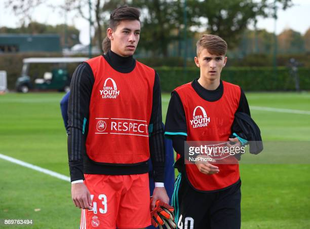LR Diego Altube Suarez and Pablo Rodriguez Delgado of Real Madrid Under 19s during UEFA Youth Cup match between Tottenham Hotspur Under 19s against...