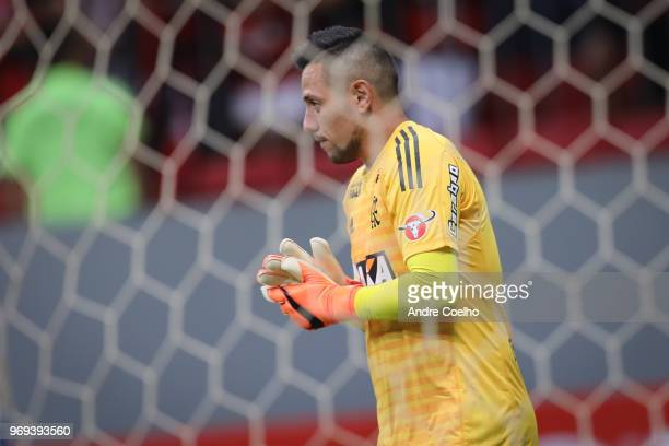Diego Alves goal keeper of Flamengo watches the game during a match between Flamengo and Fluminense as part of Brasileirao Series A 2018 at Mane...