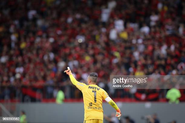 Diego Alves goalkeeper of Flamengo giving instructions to his teammates during a match between Flamengo and Fluminense as part of Brasileirao Series...