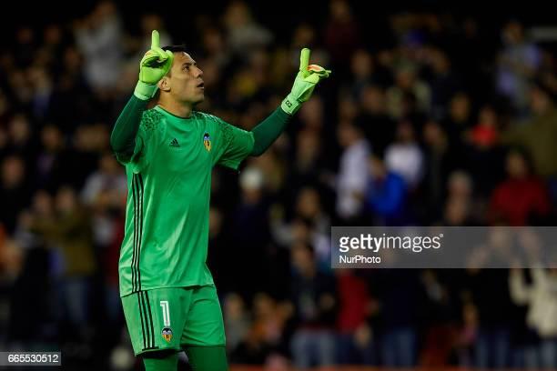 Diego Alves goalkeeper of Valencia CF celebrates after a goal during the La Liga match between Valencia CF and Real Club Celta de Vigo at Mestalla...