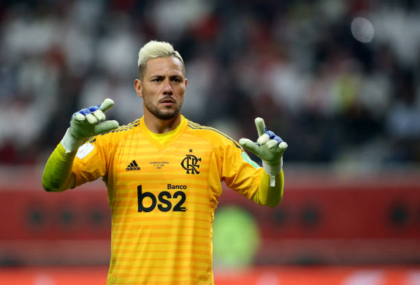 Diego Alves of CR Flamengo on action during the FIFA Club World Cup Final Match between Liverpool FC and CR Flamengo at Khalifa International Stadium...