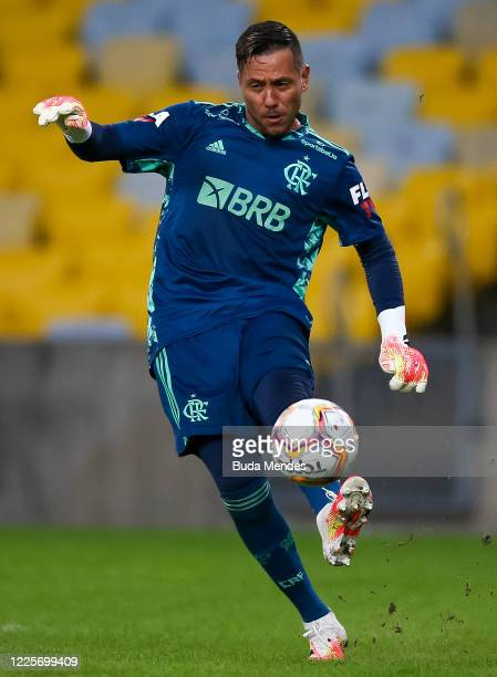 Diego Alves of Flamengo kicks the ball during the match between Flamengo and Fluminense as part of the Taca Rio the Second Leg of the Carioca State...