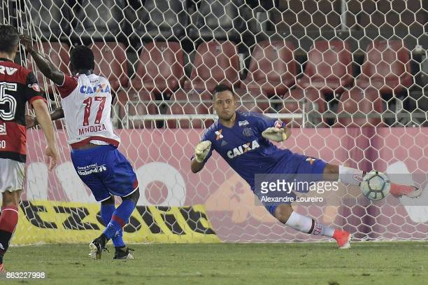 Diego Alves of Flamengo try to catch the penalty during the match between Flamengo and Bahia as part of Brasileirao Series A 2017 at Ilha do Urubu...