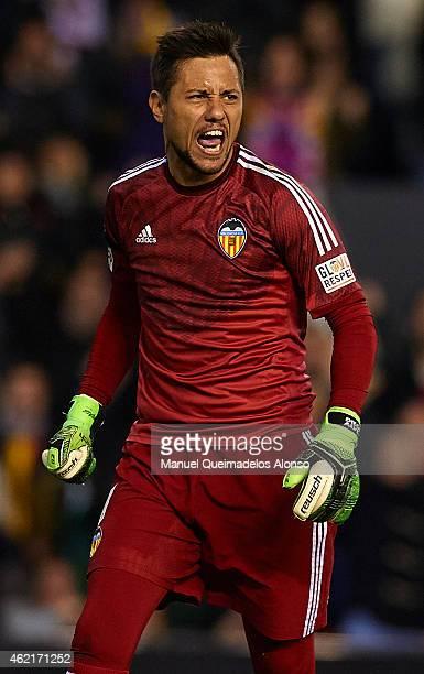 Diego Alves of Valencia celebrates after stopping a penalty during the La Liga match between Valencia CF and Sevilla FC at Estadi de Mestalla on...