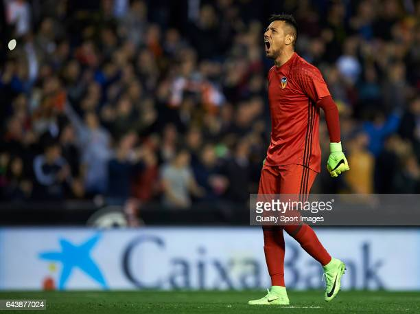 Diego Alves of Valencia celebrates the first goal during the La Liga match between Valencia CF and Real Madrid at Mestalla Stadium on February 22...