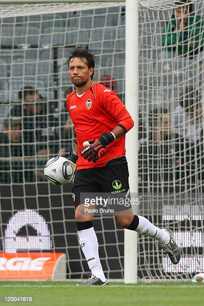 Diego Alves of Valencia CF in action during the preseason friendly match between SK Rapid Wien and Valencia CF at Gerhard Hanappi Stadion on July 26...