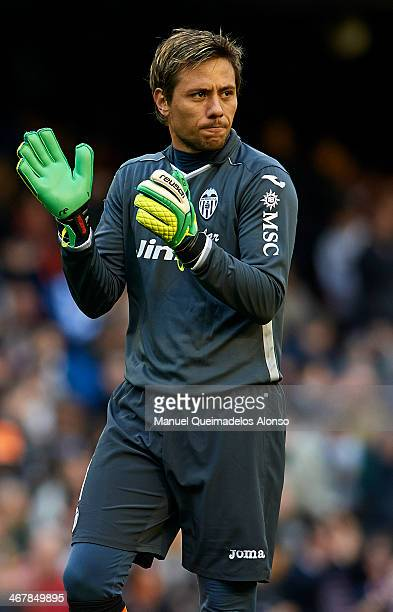 Diego Alves of Valencia CF reacts during the La Liga match between Valencia CF and Real Betis Balompie at Estadio Mestalla on February 08 2014 in...