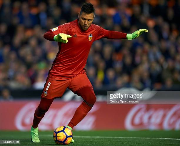Diego Alves of Valencia in action during the La Liga match between Valencia CF and Real Madrid at Mestalla Stadium on February 22 2017 in Valencia...