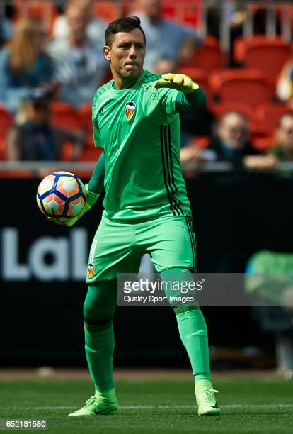 Diego Alves of Valencia in action during the La Liga match between Valencia CF and Real Sporting de Gijon at Mestalla Stadium on March 11 2017 in...