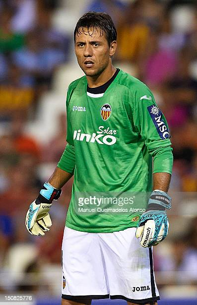 Diego Alves of Valencia looks on during the La Liga match between Valencia and Deportivo at Estadio Mestalla on August 26 2012 in Valencia Spain