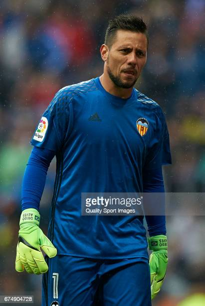 Diego Alves of Valencia looks on during the La Liga match between Real Madrid CF and Valencia CF at Estadio Santiago Bernabeu on April 29 2017 in...