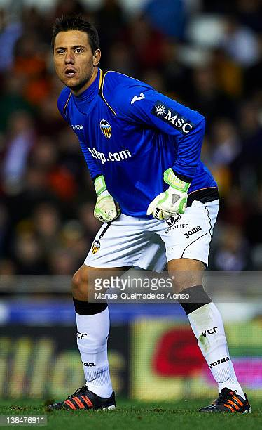 Diego Alves of Valencia looks on during the round 16 Copa del Rey 1st leg match between Valencia and Sevilla at Estadio Mestalla on January 5 2012 in...