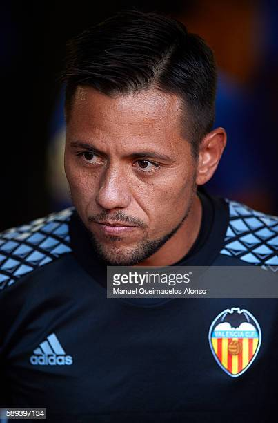Diego Alves of Valencia looks on during the team official presentation ahead of the preseason friendly match between Valencia CF and AC Fiorentina at...