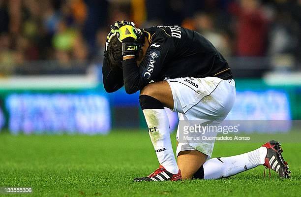 Diego Alves of Valencia reacts during the La Liga match between Valencia and Real Madrid at Estadio Mestalla on November 19 2011 in Valencia Spain...