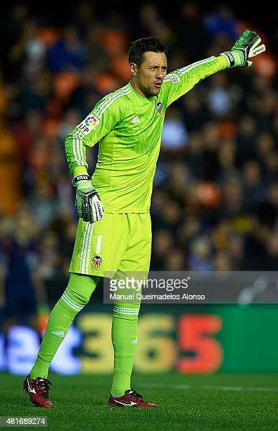 Diego Alves of Valencia reacts during the La Liga match between Valencia CF and UD Almeria at Estadi de Mestalla on January 17 2015 in Valencia Spain