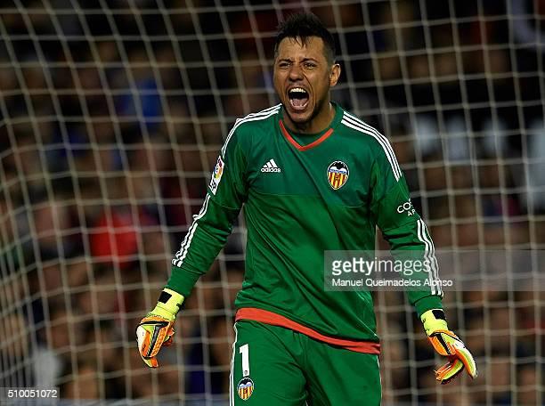 Diego Alves of Valencia reacts during the La Liga match between Valencia CF and RCD Espanyol at Estadi de Mestalla on February 13 2016 in Valencia...