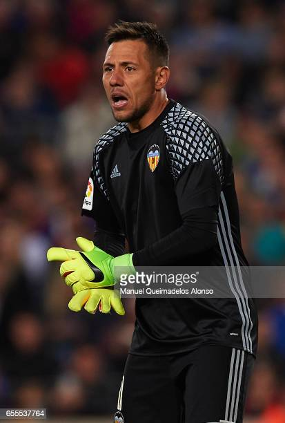 Diego Alves of Valencia reacts during the La Liga match between FC Barcelona and Valencia CF at Camp Nou Stadium on March 19 2017 in Barcelona Spain