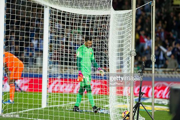 Diego Alves of Valencia reacts during the Spanish league football match between Real Sociedad and Valencia at the Anoeta Stadium in San Sebastian on...