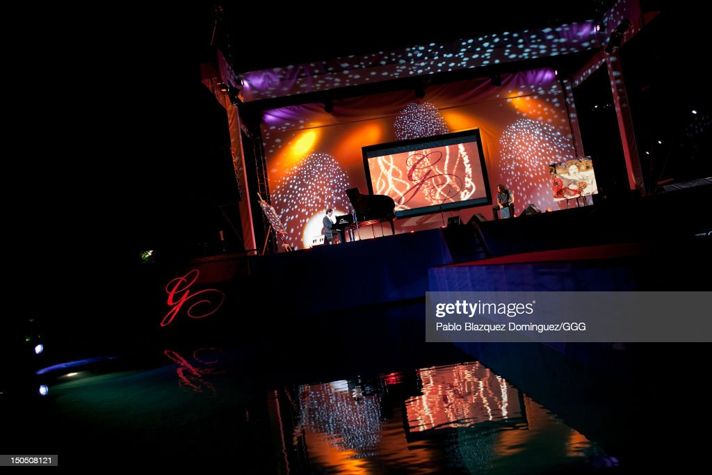 Diego Amador performs live on stage during the Global Gift Gala held to raise benefits for Cesare Scariolo Foundation and Eva Longoria Foundation on August 19, 2012 in Marbella, Spain.
