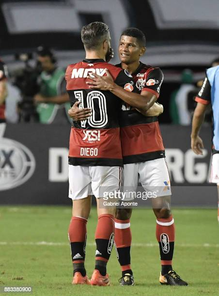 Diego and Marcio Araujo of Flamengo celebrate after winning a second leg match between Junior and Flamengo as part of the Copa CONMEBOL Sudamericana...