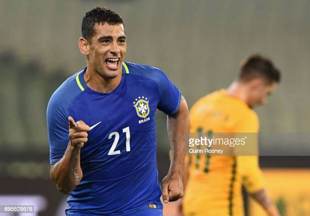 Diego Andrade of Brazil celebrates scoring a goal during the Brazil Global Tour match between Australian Socceroos and Brazil at Melbourne Cricket...