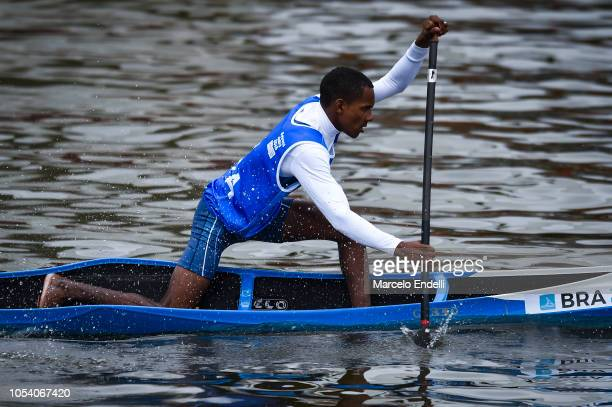 Diego Araujo Do Nascimento competes in the Men Canoe Head to Head Sprint during day 6 of Buenos Aires Youth Olympic Games 2018 at Urban Park Puerto...