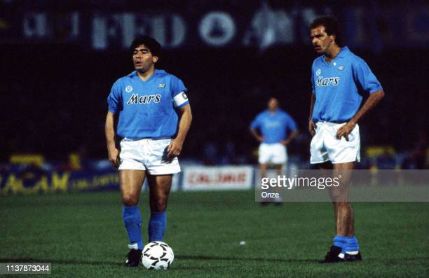 Diego Armando Maradona and Alemao of Napoli during the UEFA Cup Final match between SSC Napoli and VfB Stuttgart at San Paolo Stadium, Napoli, Italy...