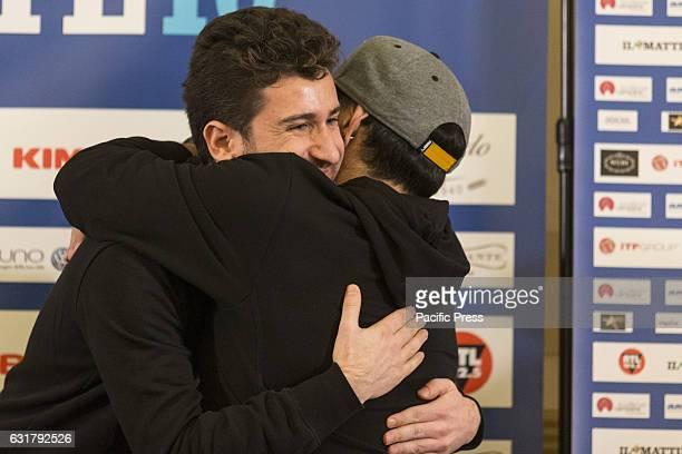 Diego Armando Maradona and Alessandro Siani during press conference of 'Maradona Live Tre volte 10' in 'Hotel Vesuvio' of Naples