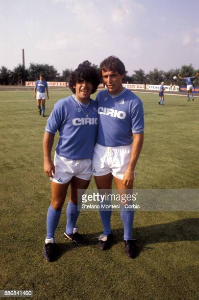 Diego Armando Maradona and Daniel Bertoni during the retreat of the Napoli SSC on August 2 1984 in Castel del Piano Italy n