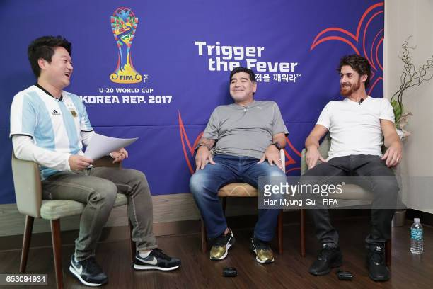 Diego Armando Maradona and Pablo Aimar attend an TV interview prior to Draw Of FIFA U20 World Cup Korea Republic 2017 at Hotel Novotel Suwon on March...