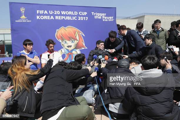 Diego Armando Maradona and Pablo Aimar talk to media after the mini 5aside football match prior to Draw Of FIFA U20 World Cup Korea Republic 2017 at...