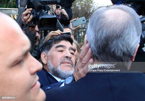 Diego Armando Maradona and president of Real Madrid Florentino Perez say goodbye after lunch with Real Madrid and Napoli presidents at Zalacain...